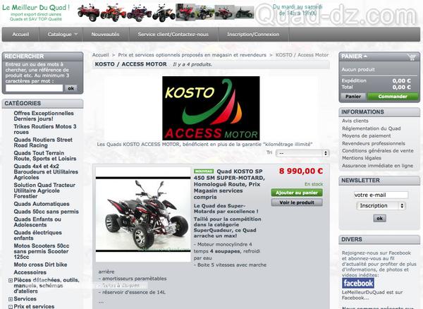 Les quads Acces-Motor désormais diffusés sous la marque Kosto